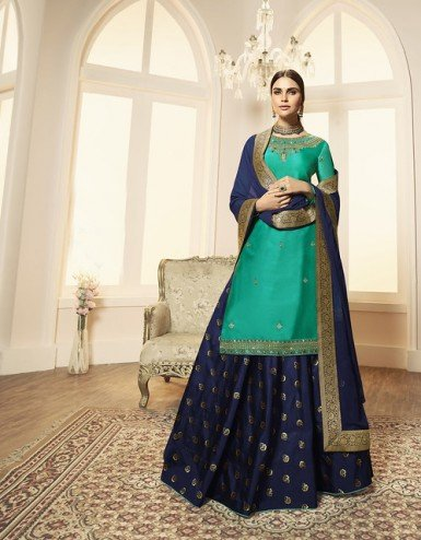 Designer Party Wear Satin Georgette Lehenga Suit