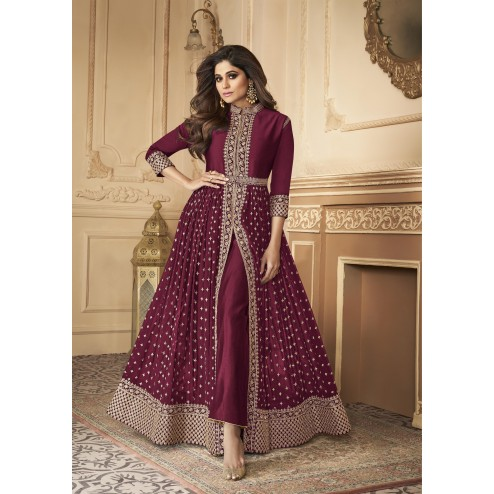 Heavy Designer Real Georgette Party Wear Indo Western Style Suit