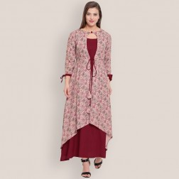 Designer Party Wear Heavy Print Rayon Kurti